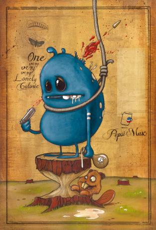 "Advertising inspiration: ""courage"" blue character"
