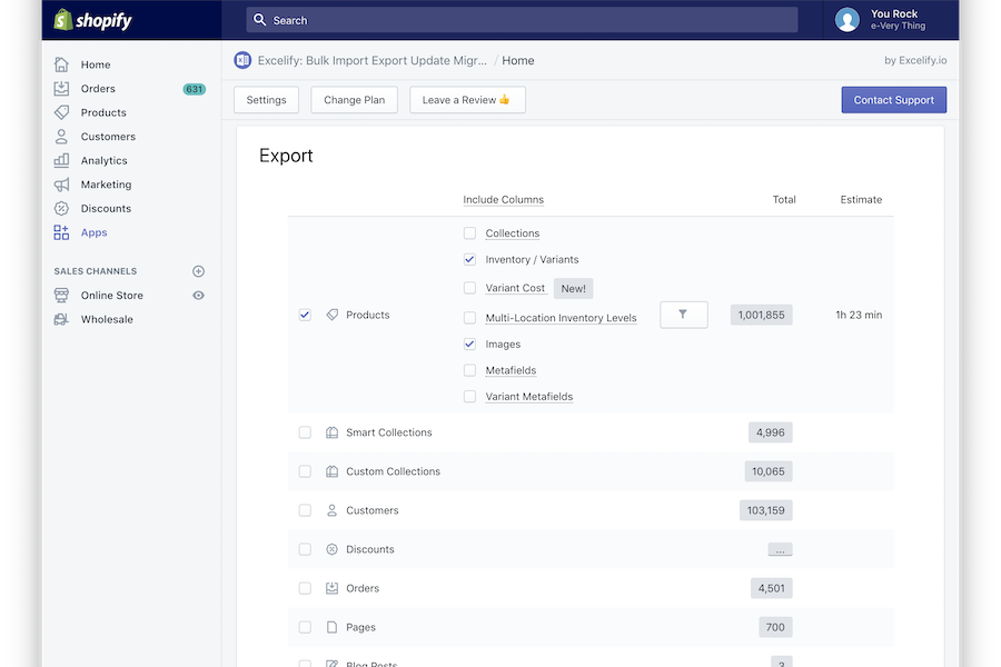 Excelify Shopify data export