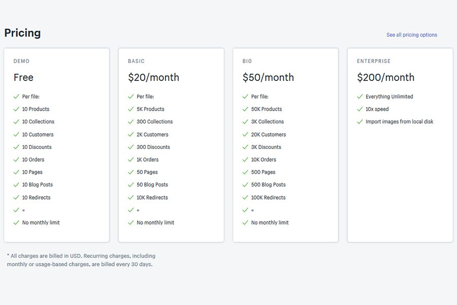 Excelify shopify pricing plans