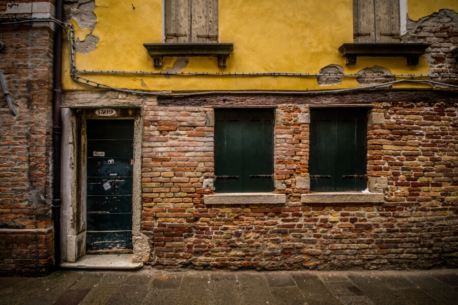 Yellow Brick Wall, Venice, Italy