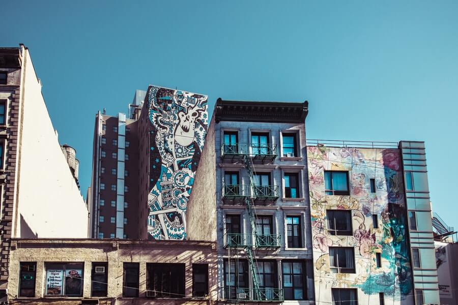 High Rise Buildings with a Street Art