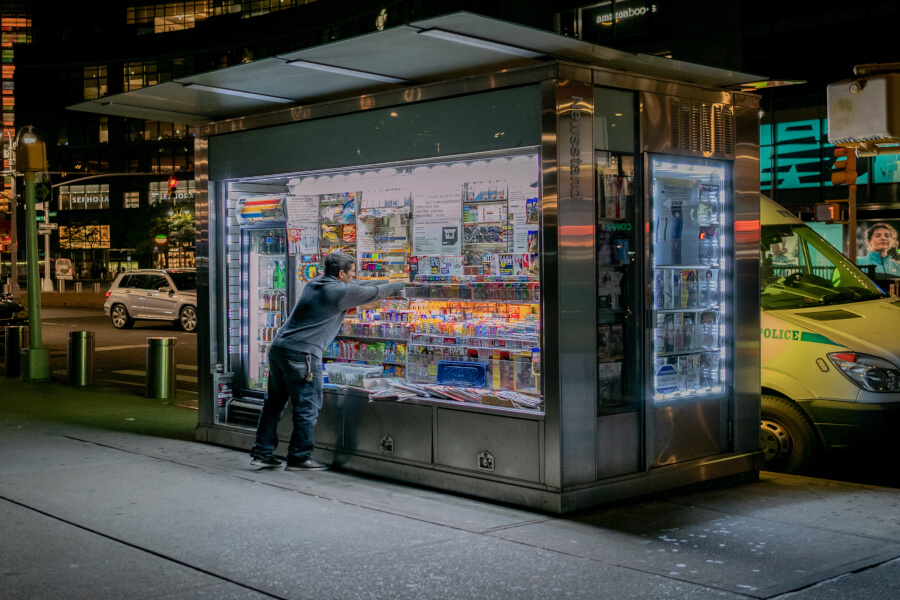 Late Night at a Newsstand in NYC