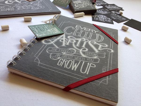 Chalkboard lettering on stationery by Lisa Nemetz