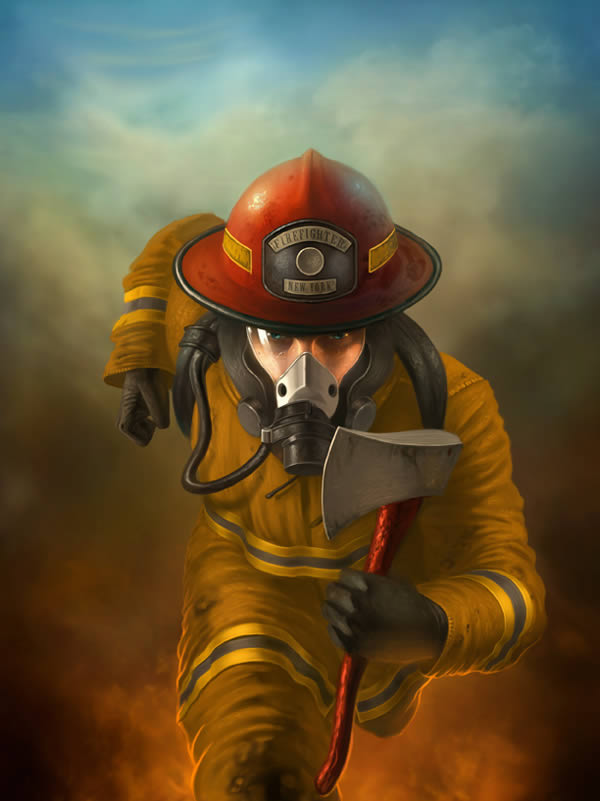 Create a Heroic Firefighter Painting in Photoshop, by George Patsouras