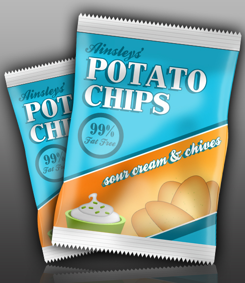 Create a Packet of Potato Chips in Photoshop, by Ainsley