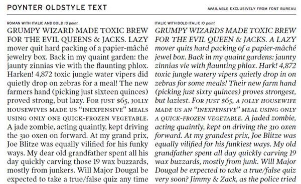 Poynter Old Style Text specimen by Font Bureau