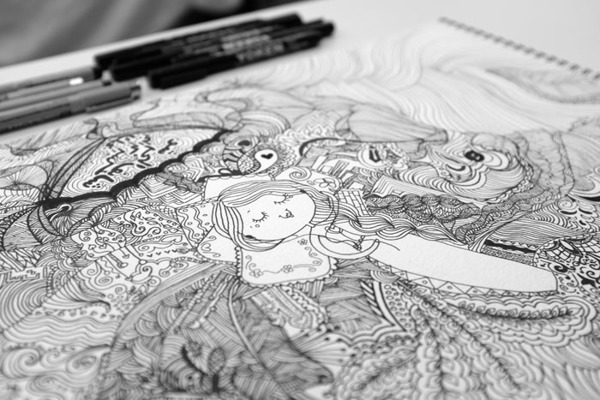 The Dreamer Girl - Doodle Project, by Jehad Alhemaid
