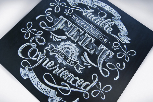 Chalk handlettering on board by Aurelie Maron
