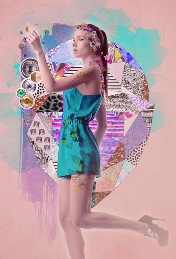 Fashion Week Fantasy, mixed media collage tutorial