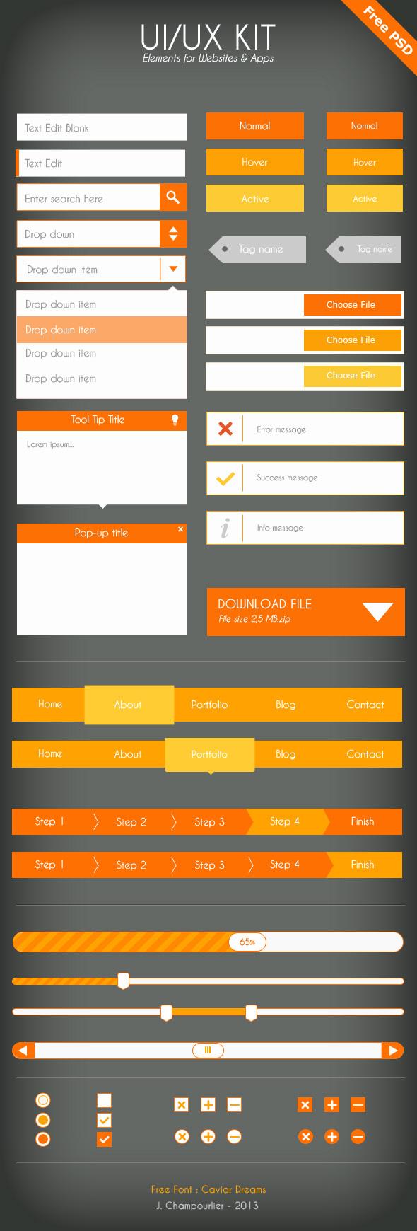 UI/UX Flat design - Free PSD, by Julie Champourlier