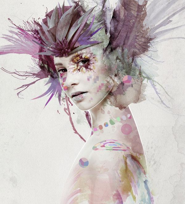 Mixed media portrait tutorial by Jenny Le