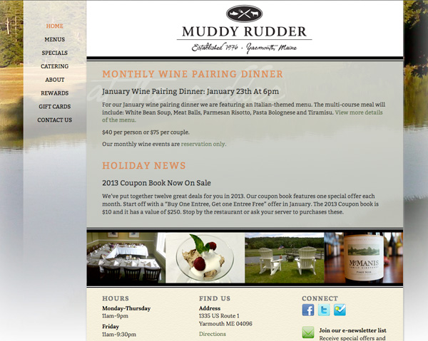 Muddy Rudder Restaurant Logo and Web Site Design, by Visible Logic