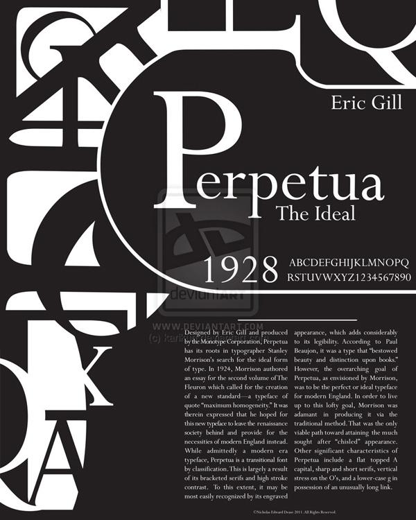 Perpetua Typography Poster by karikun