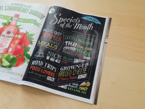 Rachael Ray Magazine handlettering by Sean McCabe