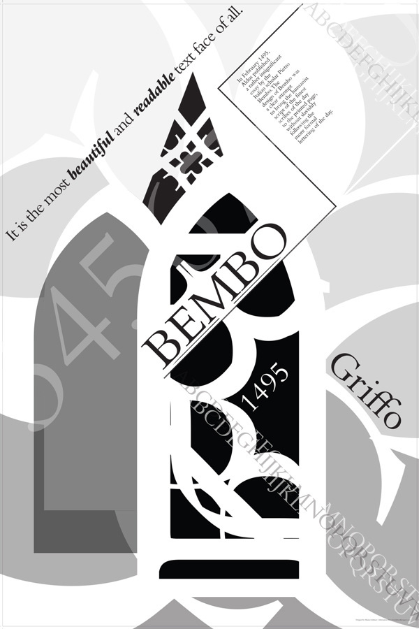 Bembo Typography Poster by Shauna Goldman