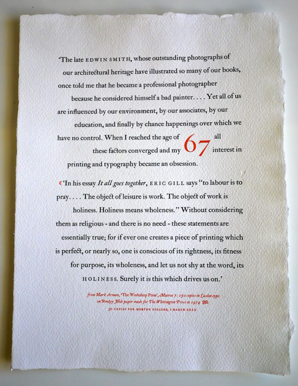 Whittington Press ephemera - photo by Tony Geer
